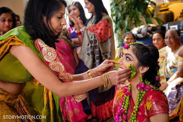 Maharani getting the turmeric paste on her face.