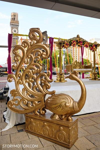 Stunning Sangeet Peacock stage decoration.