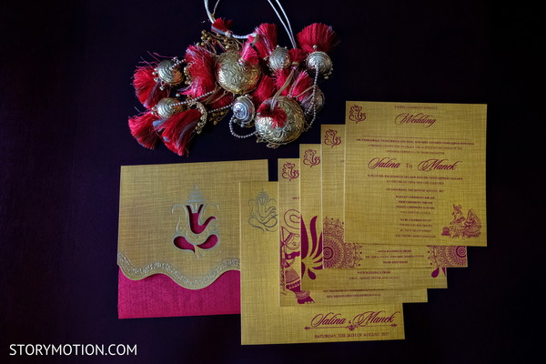 Elegant Indian wedding invitations and guides prints.