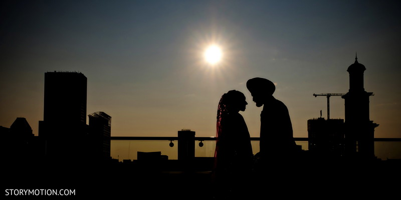Incredible silhouette of Indian bride and groom.