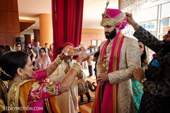 Indian groom  during baraat rituals.