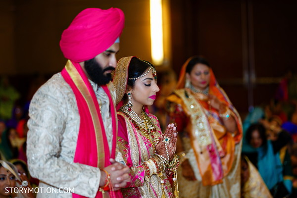 Magnificent Indian bride and groom at their ceremony.