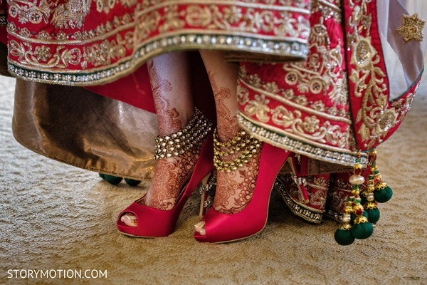 Incredible Indian bridal ceremony red shoes.