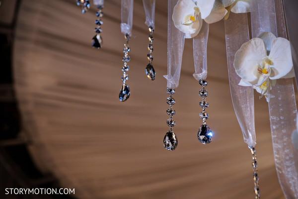 Stunning Indian crystals hanging on mandap.