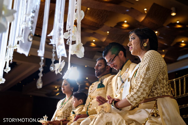 Indian bridesmaids and groomsmen at ceremony capture.