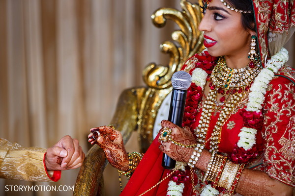 Maharani putting the wedding band to groom.
