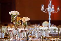 Indian wedding reception glassware table setup.