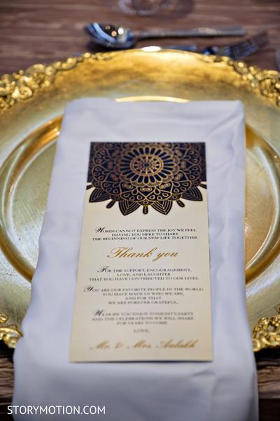 Closeup capture of Indian wedding thank you print.
