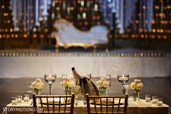 Lovely Indian lovebirds reception table.
