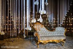 Indian wedding reception stage decor.