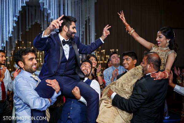 Upbeat Indian guest dance performance.