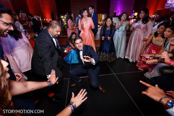 Indian wedding guests rocking the dance floor.