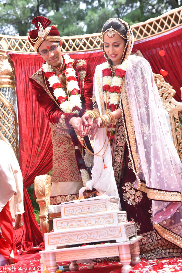 Indian bride and groom during the rajaham ritual.