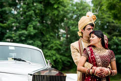 Indian bride and groom having a romantic time