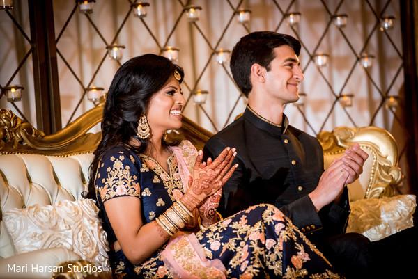 Joyful couple at the reception