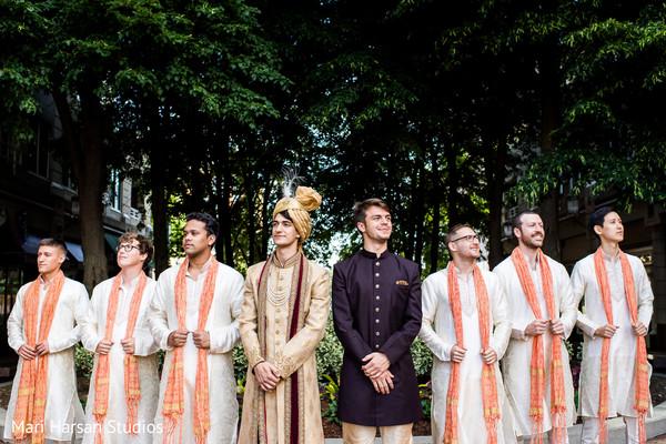 Fantastic shot of Indian groom and groomsmen