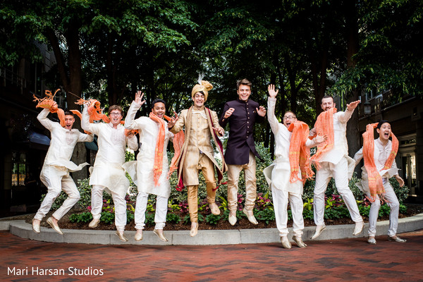 Indian groom and groomsmen having a great time