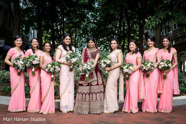 Indian bridesmaids looking incredible with Maharani