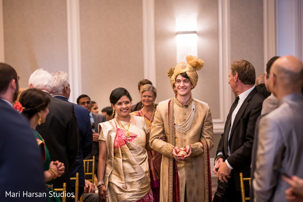 Indian groom arriving at the ceremony