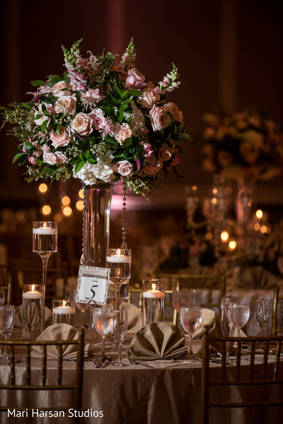 Beautiful floral arrangement at the reception