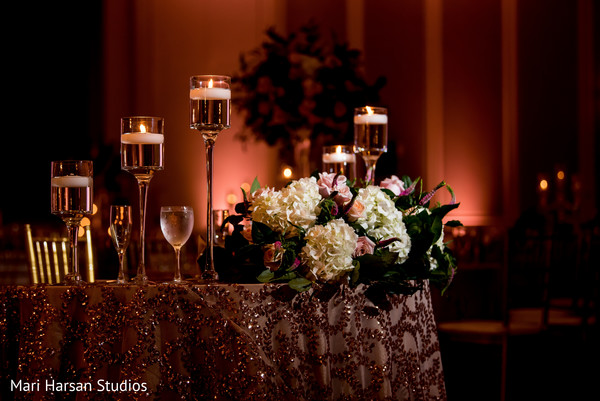 Beautiful close up of table design at the reception