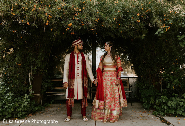 Beautiful indian couple in their wedding outfits