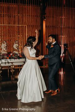 Indian newlyweds dancing