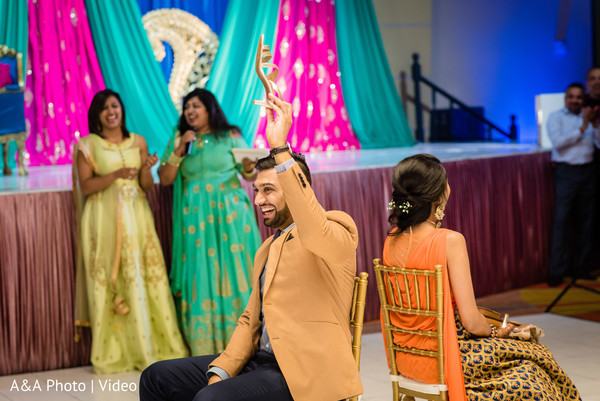 Indian groom and bride having a great time