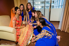 Bridesmaids with the Indian bride