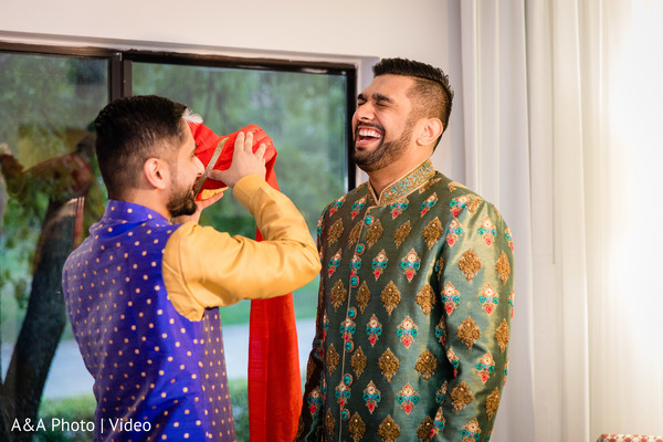 Indian groom about to wear the pagri