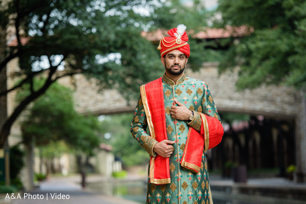 Indian groom outdoors during the photo shoot