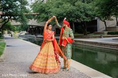 Maharani dancing with Raja outside