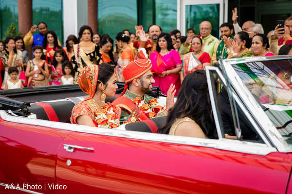 Indian couple leaving the ceremony