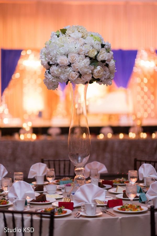 Floral arrangement details for the Indian wedding reception
