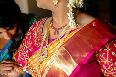 Closeup capture of Maharani's ceremony folden necklace.