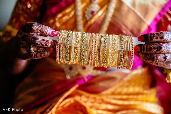 Stunning maharani's golden ceremony bangles.