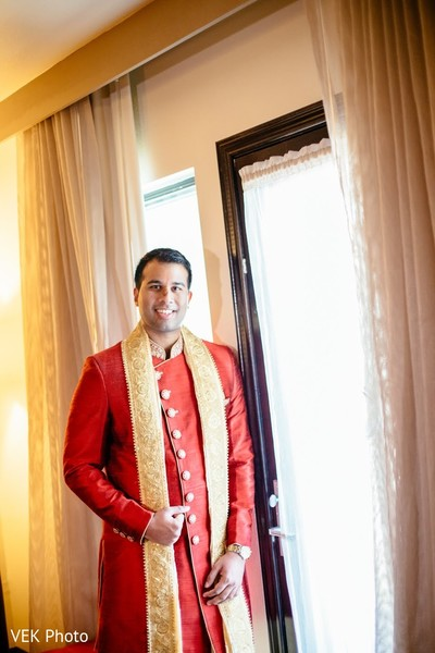 Charming Indian groom ready for ceremony.