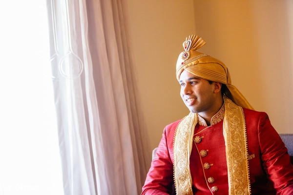 Indian groom with his turban on.