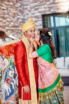 Indian groom at his baraat capture.