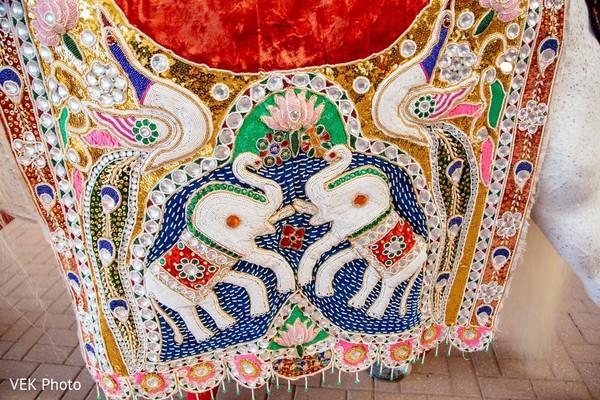 Baraat white horse detailed dress.