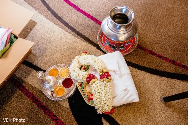 Indian wedding ceremony ritual items.