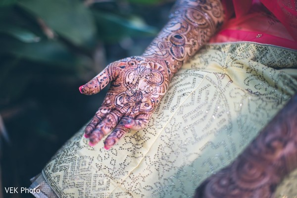 Closeup capture of maharanis mehndi hand art.