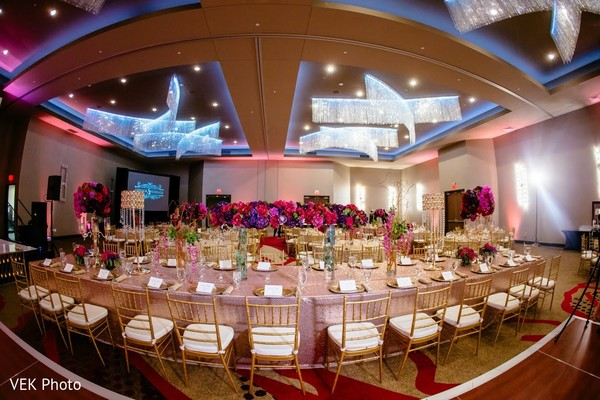 Stunning table setup for wedding reception.