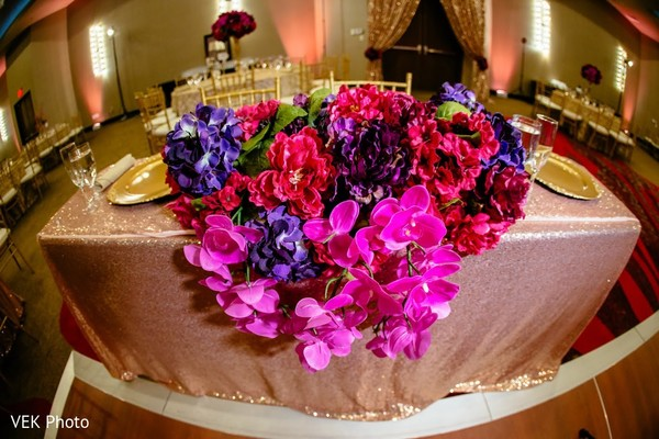 Incredible Indian wedding table flowers decor.