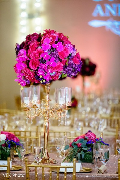 Incredible Indian wedding reception table centerpiece decoration.