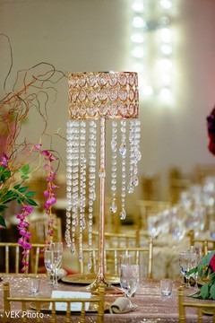 Indian wedding crystals table centerpiece.