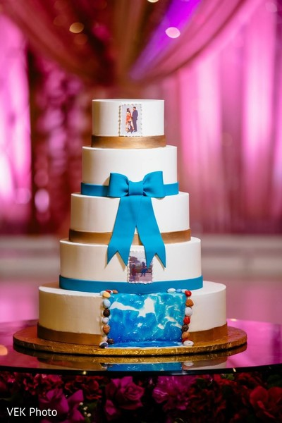 Great capture of Indian wedding cake decor.