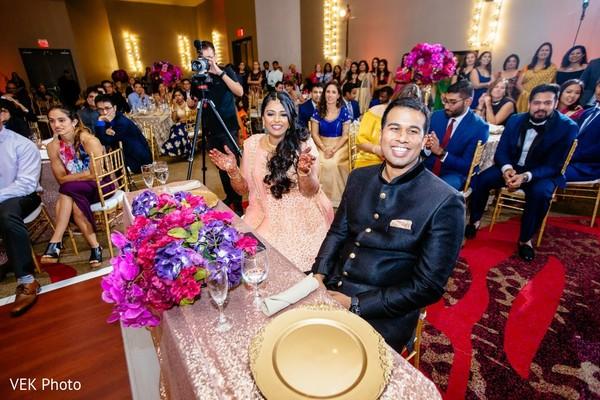 Indian lovebirds at reception celebration.