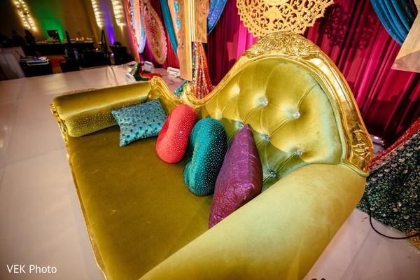 Elegant sangeet sofa decoration.