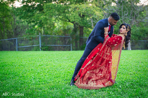 Wonderful outdoors photography of Indian bride and groom.